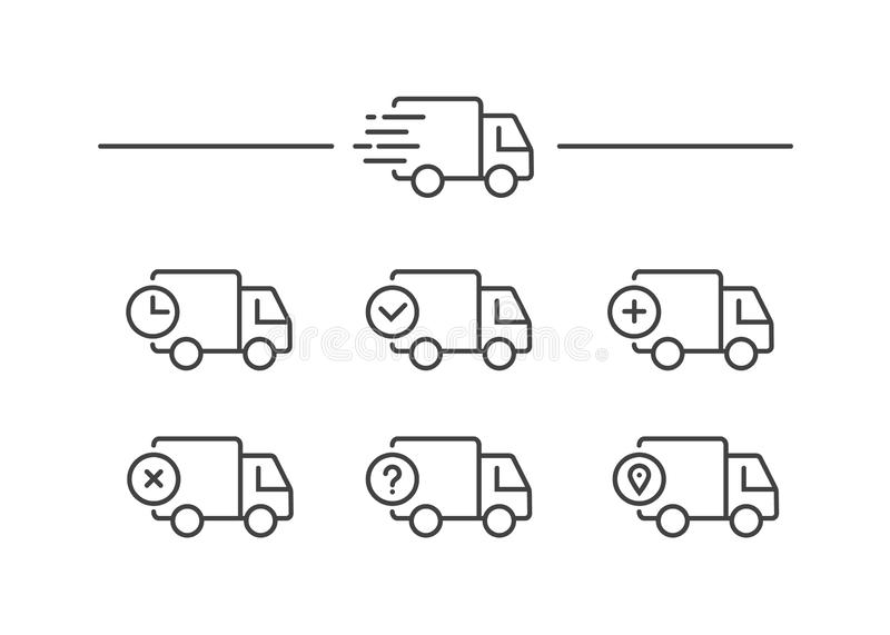 Fast shipping delivery truck. Set of Line icons. Vector illustration vector illustration