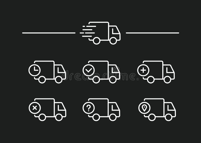 Fast shipping delivery truck. Set of Line icons. Vector illustration royalty free illustration