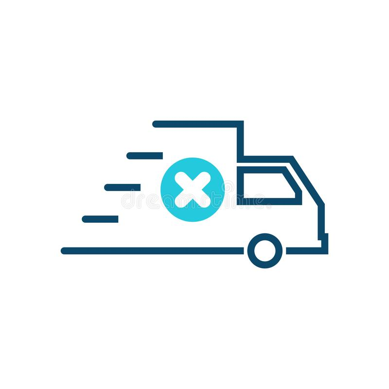 Fast shipping icon, delivery truck icon with cancel sign. Fast shipping icon and close, delete, remove symbol. Vector royalty free illustration