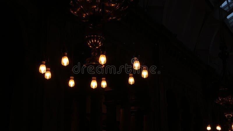 Fast shutter speed shot of ceiling lights stock photo