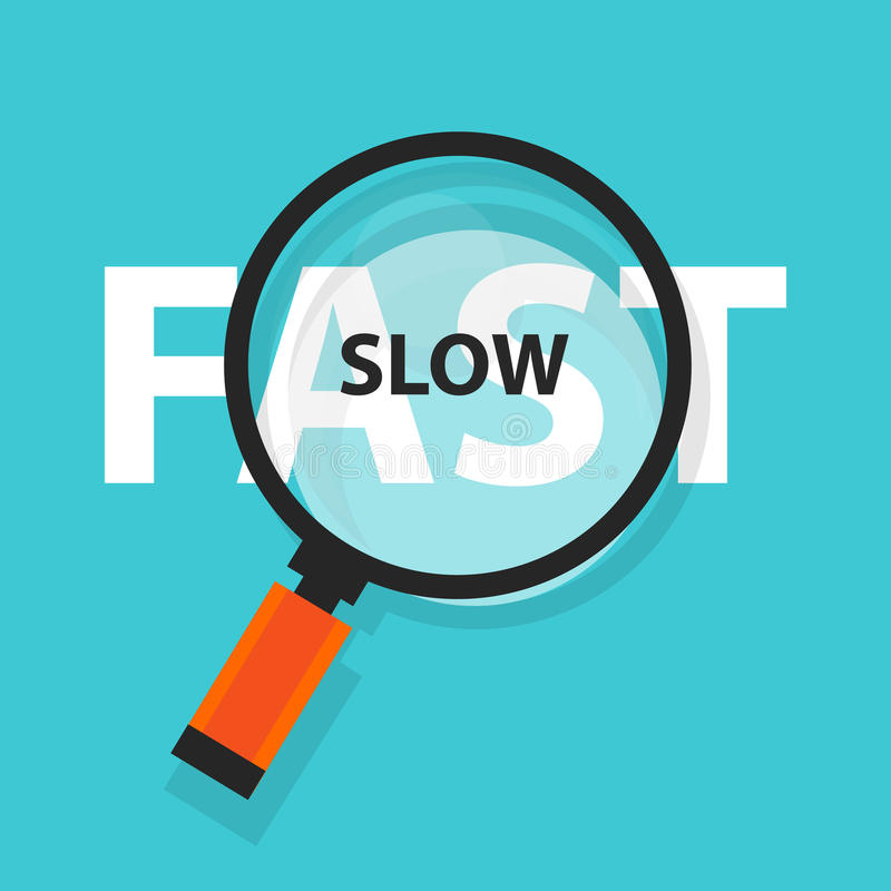 Fast and slow concept business analysis magnifying glass symbol stock illustration
