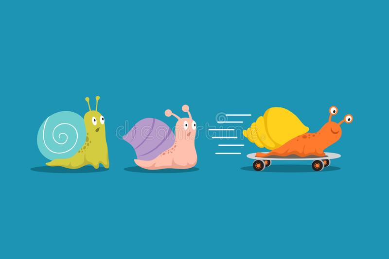 Fast and slow snails. Snail with wheels overtakes others in race. Competitive advantages business vector concept. Colored snail with shell house, slug moving vector illustration