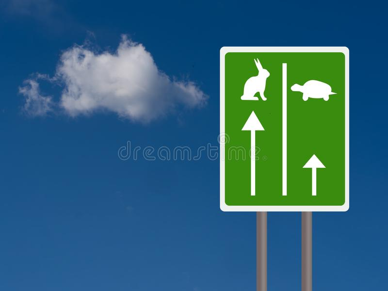 Fast and slow travel lanes for tortroise aka turtle and hare, Business success concept. Sky background with copyspace. stock images