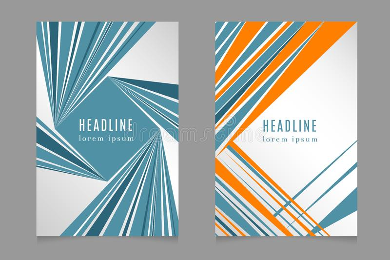 Fast speed lines business brochure flyer design template in 80s style stock illustration