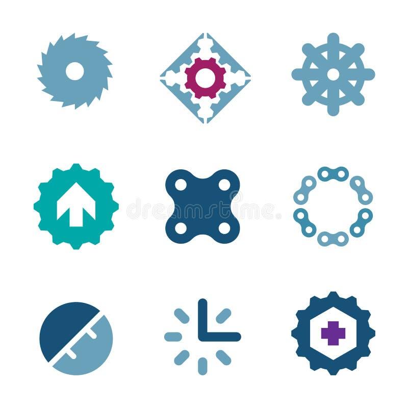 Fast stålkedja av logoen för symbol för framgång för styrkaföretagsaffär stock illustrationer