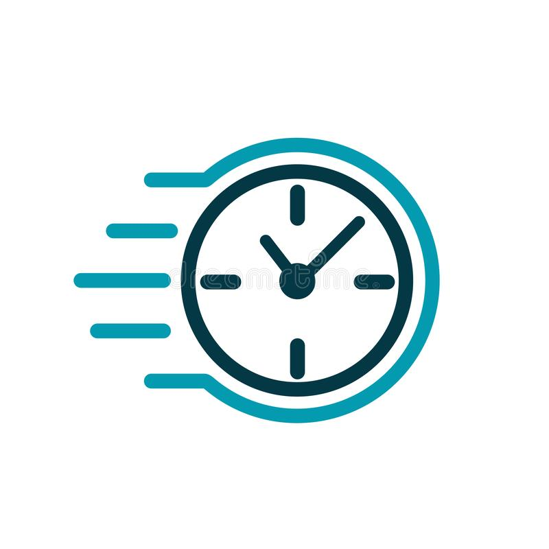 Fast stopwatch line icon. Fast delivery shipping service sign. Speed clock symbol urgency, deadline, time management, competition vector illustration