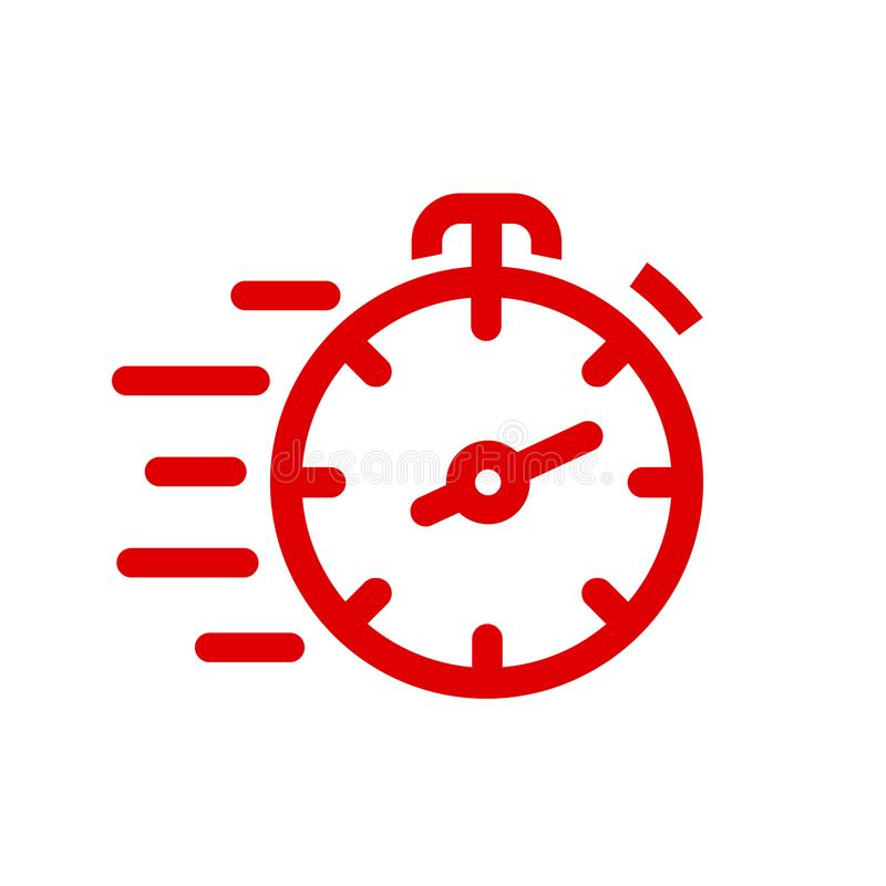 Fast stopwatch line icon. Fast time sign. Speed clock symbol urgency, deadline, time management, competition – for stock vector illustration