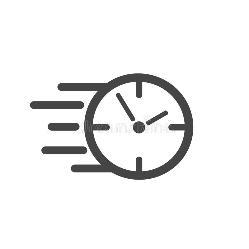 Fast stopwatch line icon. Fast time sign. Speed clock symbol urgency, deadline, time management, competition – vector royalty free illustration