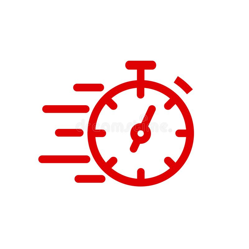 Fast stopwatch line icon. Fast time sign. Speed clock symbol urgency, deadline, time management, competition – vector stock illustration
