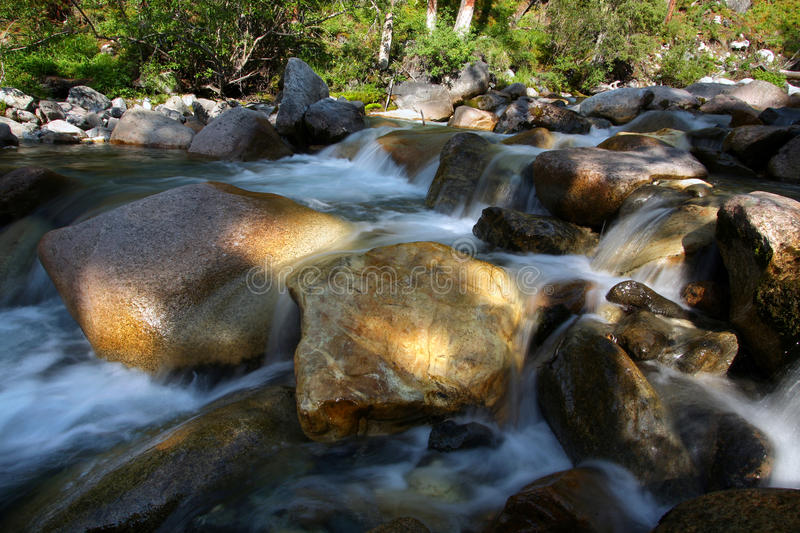 Fast stream of the mountain river stock photography