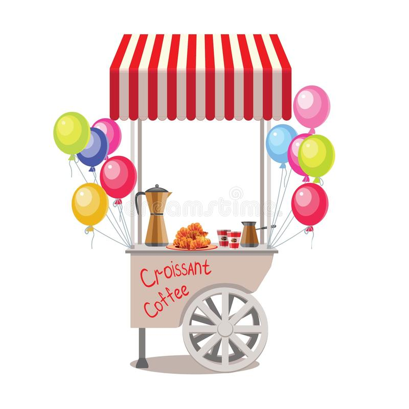 Fast street food caravan trailer with colorful balloons. Colorful vector illustration, cute style, isolated on white background. K vector illustration