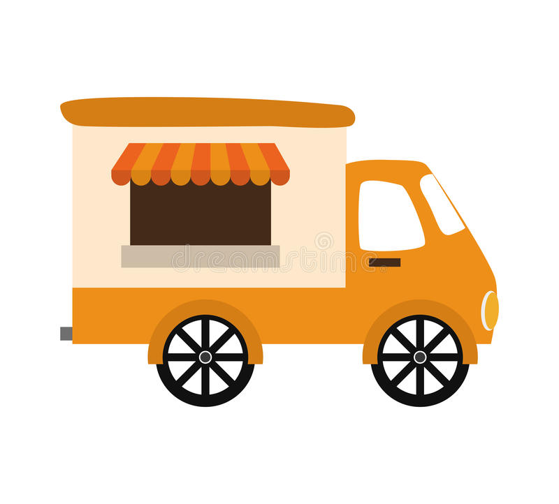 Fast and Street food concept. Eating outside. truck icon. Vector. Fast and Street food concept represented by truck, shop or place of commerce illustration, flat vector illustration