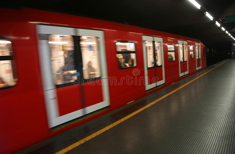 Fast subway car departing from the station royalty free stock images