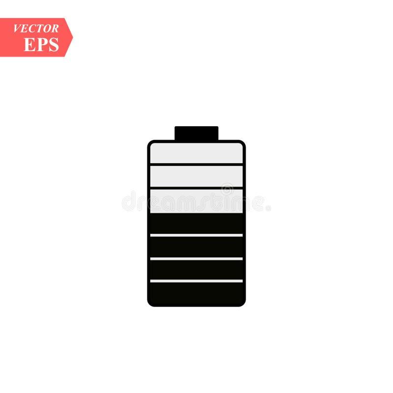 Fast symbol för batteri Energiillustration som isoleras på vit Design för ackumulatorskårastil som planläggs för rengöringsduk oc vektor illustrationer