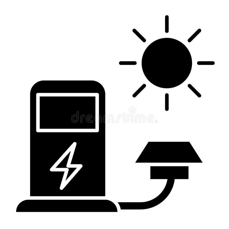 Fast symbol för elbiluppladdningsstation Elektrisk medelfyllningillustration som isoleras på vit Tanka från sol- vektor illustrationer