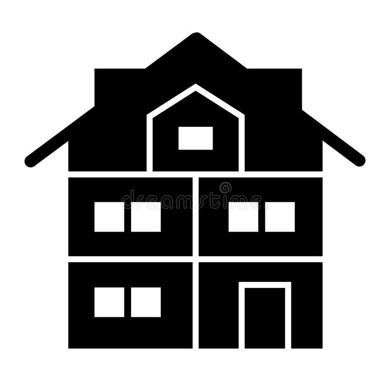 Fast symbol för högt tre-berättelse hus Modern husvektorillustration som isoleras på vit Stuga med mansard skårastil stock illustrationer