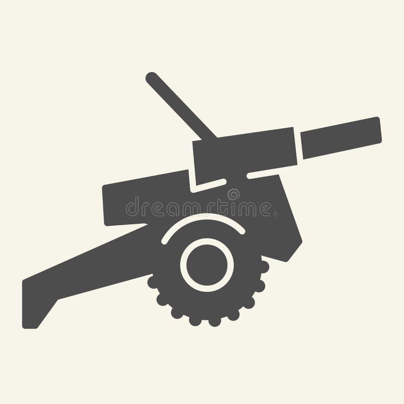Fast symbol för kanon Krigvektorillustration som isoleras på vit Design för vapenskårastil som planläggs för rengöringsduk och ap stock illustrationer