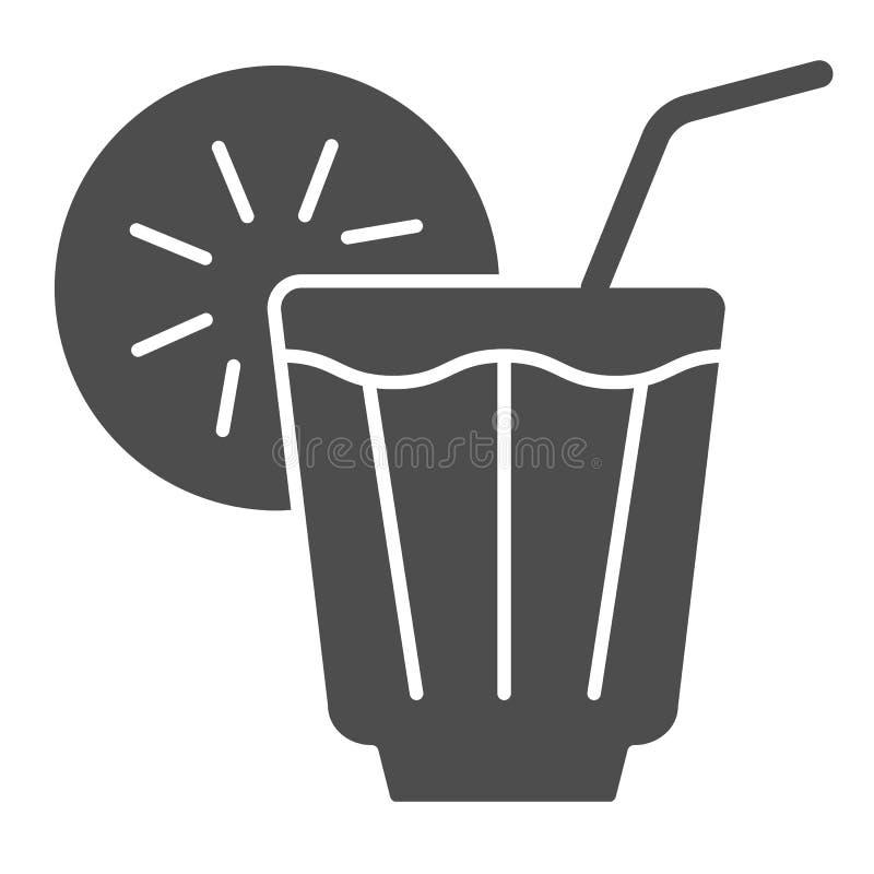 Fast symbol för med is drink Lemonadvektorillustration som isoleras på vit Kall design för teskårastil som planläggs för rengörin royaltyfri illustrationer