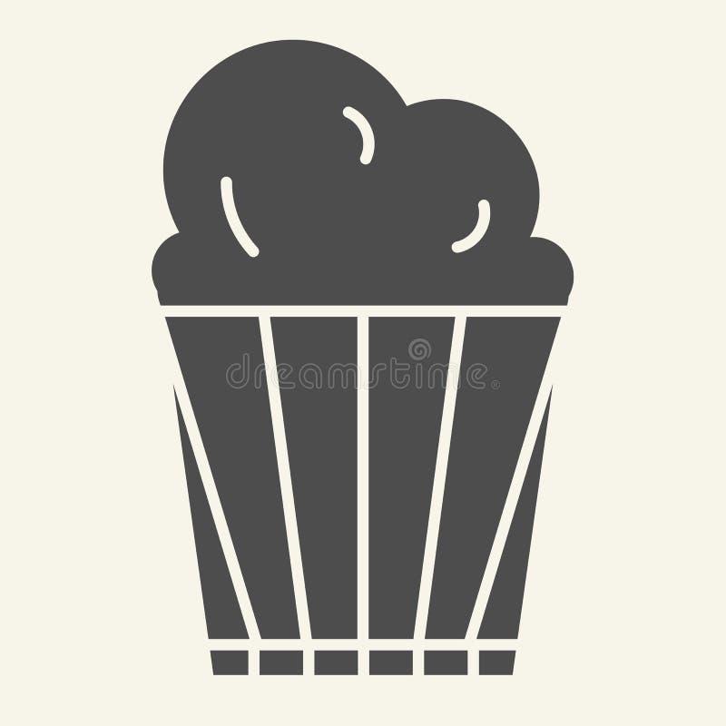 Fast symbol för popcorn Läcker vektorillustration som isoleras på vit Design för stil för popcornhinkskåra som planläggs för reng stock illustrationer