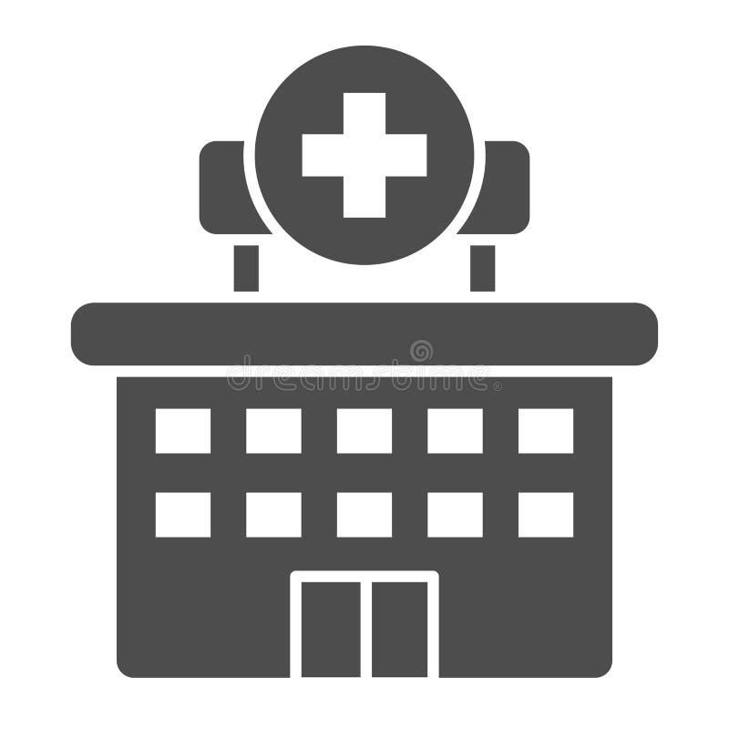 Fast symbol för sjukhus Klinikvektorillustration som isoleras på vit Design för byggnadsskårastil som planläggs för rengöringsduk royaltyfri illustrationer