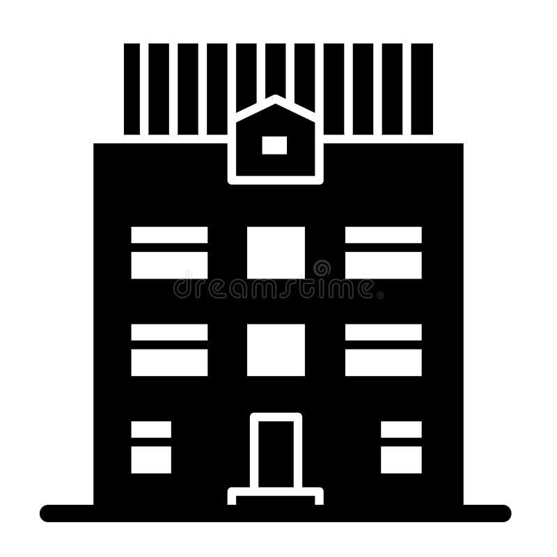 fast symbol för Tre-berättelse hus Arkitekturvektorillustration som isoleras på vit Hem- yttre skårastildesign stock illustrationer