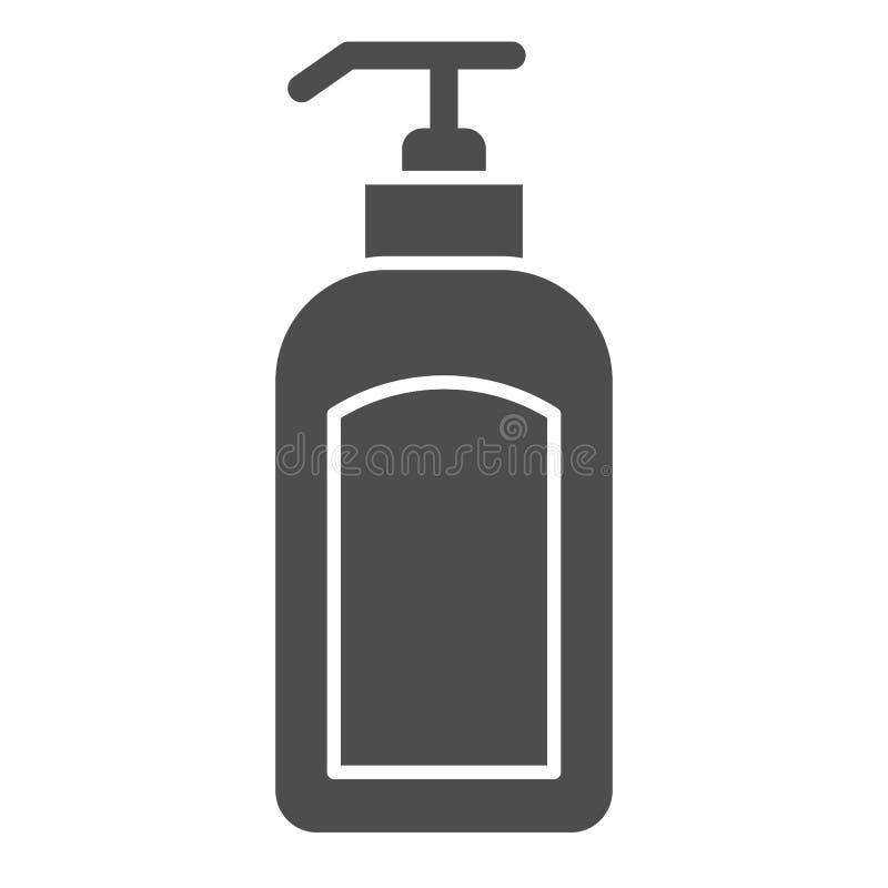Fast symbol för utmatare Illustration för lotionflaskvektor som isoleras på vit Design för hävertskårastil som planläggs för reng royaltyfri illustrationer