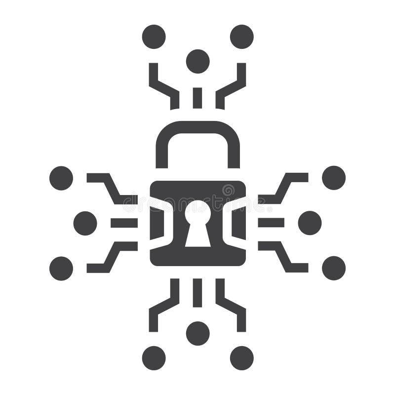 Fast symbol, hänglås och säkerhet för Cybersäkerhet stock illustrationer