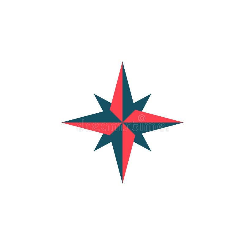 Fast symbol, navigering och kompass för vindros vektor illustrationer