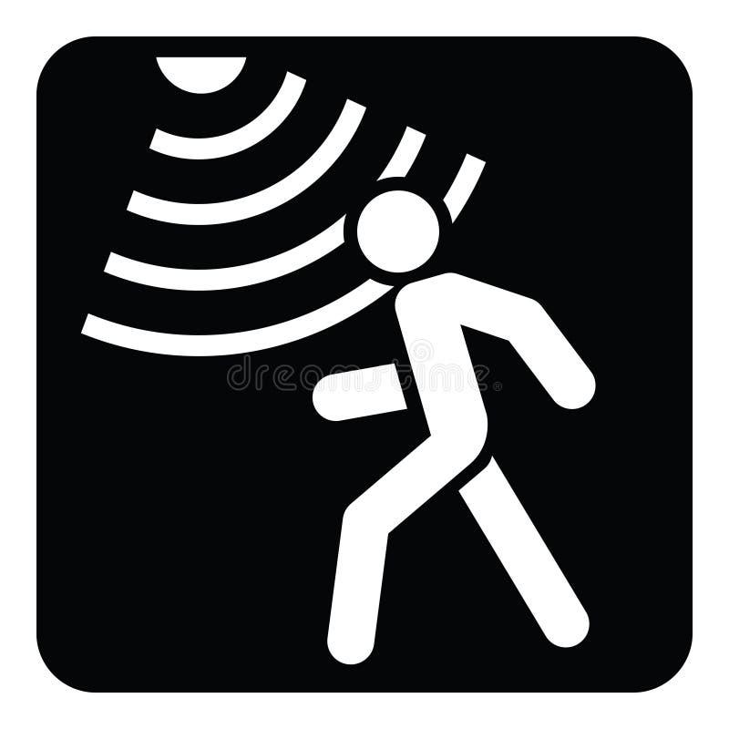 Fast symbol, säkerhet och vakt för rörelseavkännare stock illustrationer