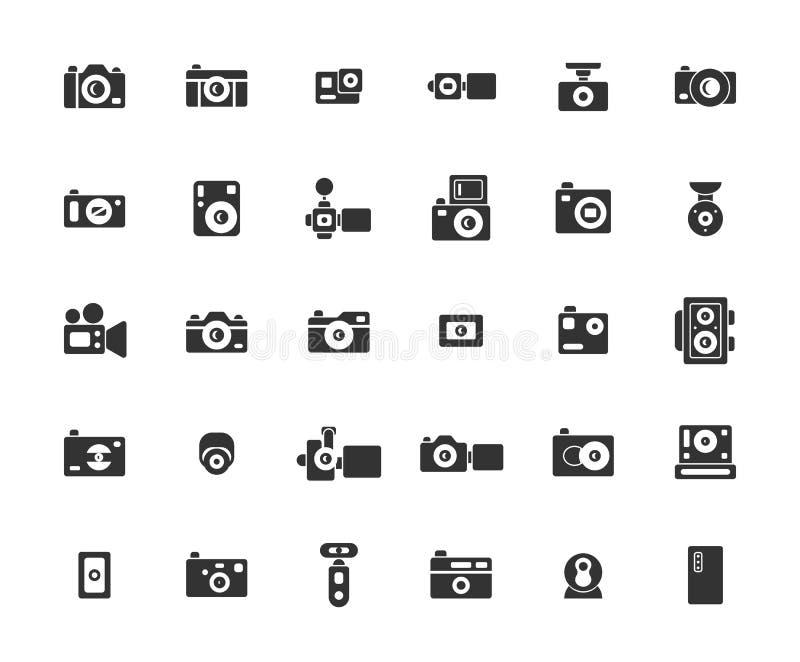 Fast symbolsuppsättning för kamera vektor illustrationer
