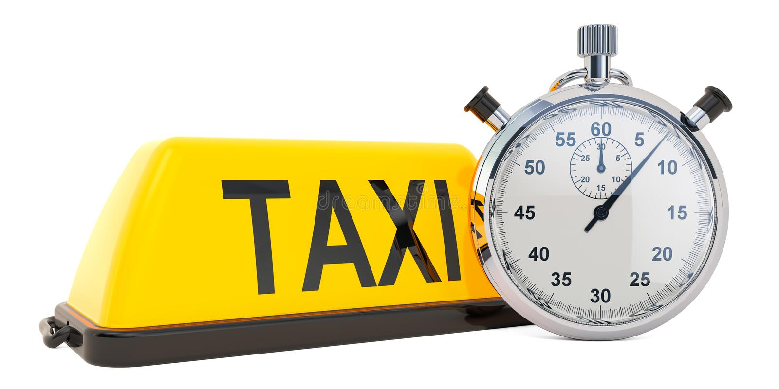 Fast Taxi concept, 3D rendering. Isolated on white background royalty free illustration