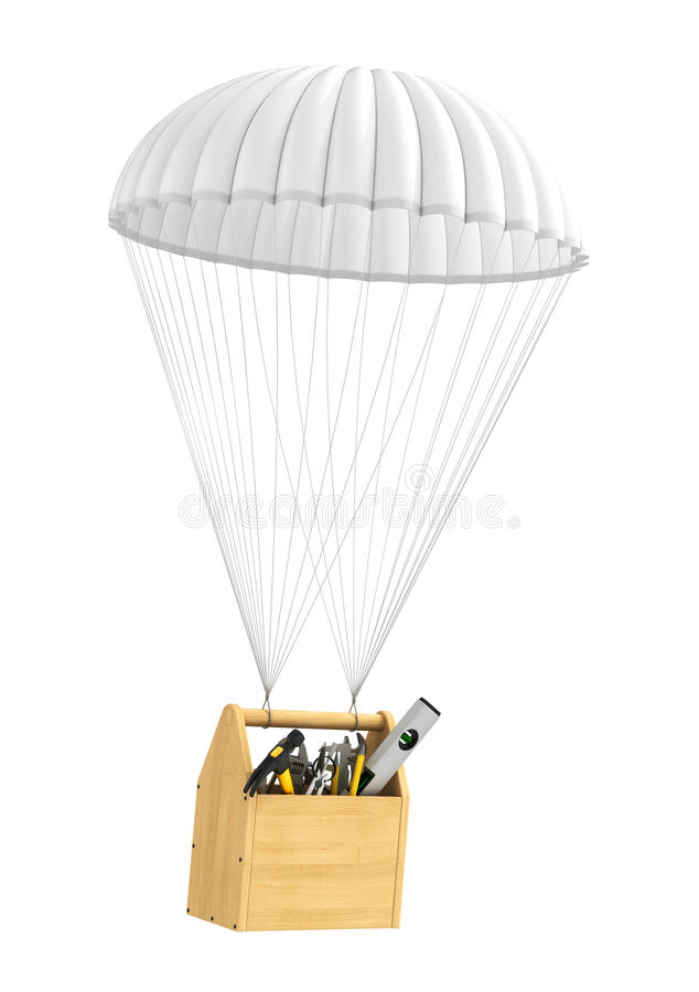 Fast technical support. Fast service. Wooden toolbox with tools isolated falling on the parachute royalty free illustration