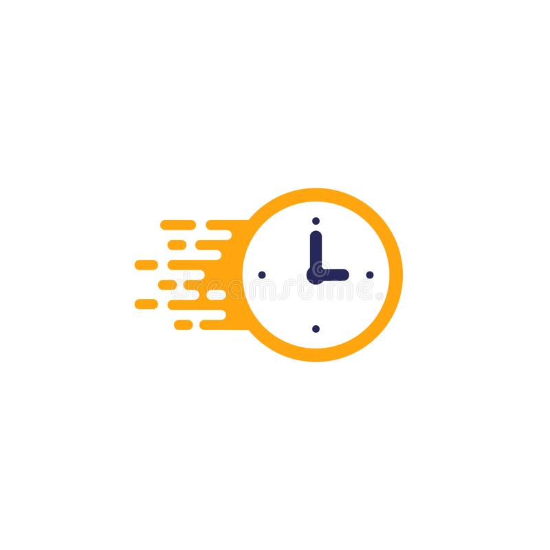 Fast time delivery icon. stopwatch in motion. deadline concept design. clock speed, flat time icon vector illustration. Timer, symbol, hour, graphic, element stock illustration