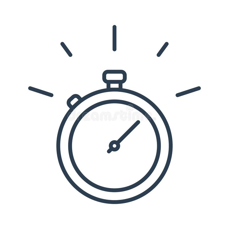 Fast time stop watch, limited offer and deadline concept, vector line icon royalty free illustration