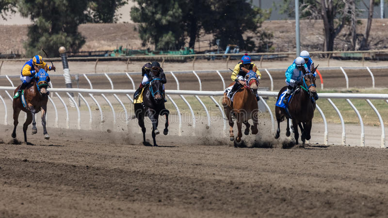 Fast Track. Jockey on his ride at the Cal Expo horse races in Sacramento California royalty free stock photography
