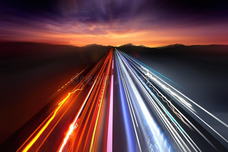 Fast Traffic Light Trails. Fast moving traffic light trails at night