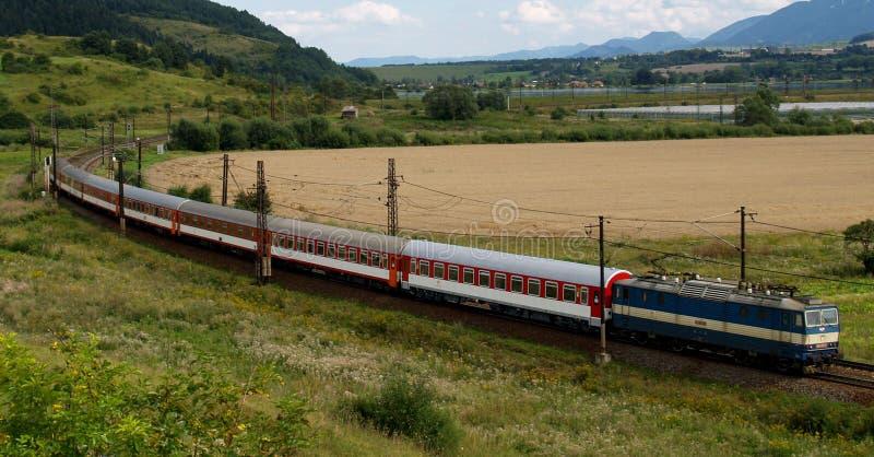 Fast train. Going through Slovak region named Liptov royalty free stock image