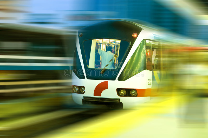 Fast train. Abstract of fast train with motion blur royalty free stock photo
