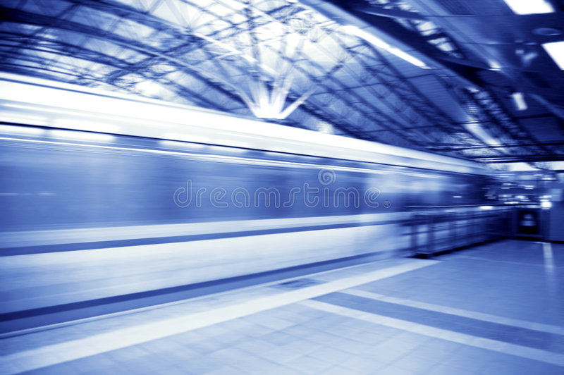Fast train. Abstract of fast train with motion blur stock images