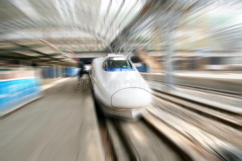 Fast train in motion. Fast train with motion blur in China stock images