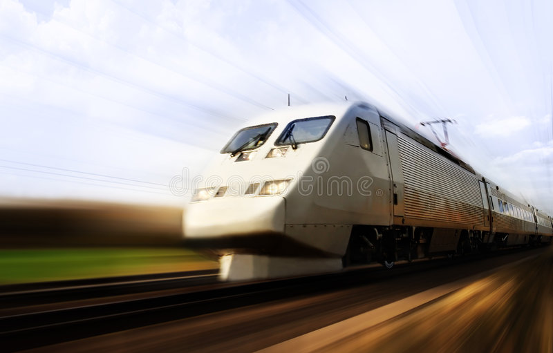 Fast train with motion blur. Photo of a Fast train with motion blur royalty free stock photos