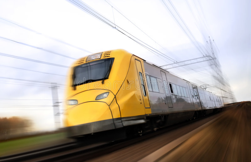Fast train with motion blur. Photo of Fast train with motion blur royalty free stock image
