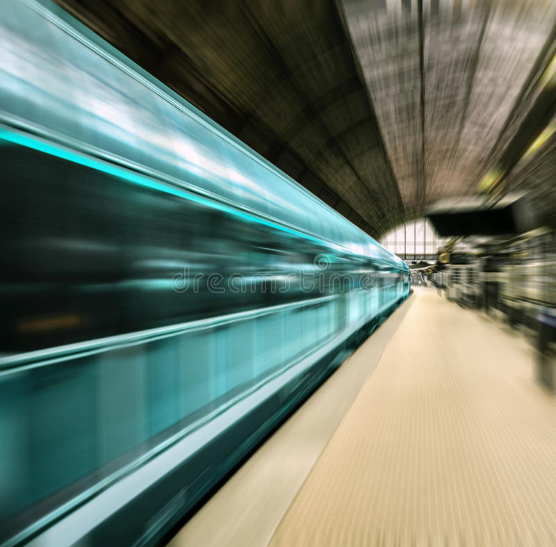 Fast train in motion blur royalty free stock photos