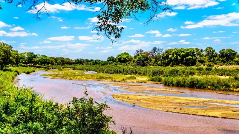 Fast trockene Sabie River am Ende der Trockenzeit am Skukuza-Rest-Lager in Nationalpark Kruger lizenzfreie stockbilder