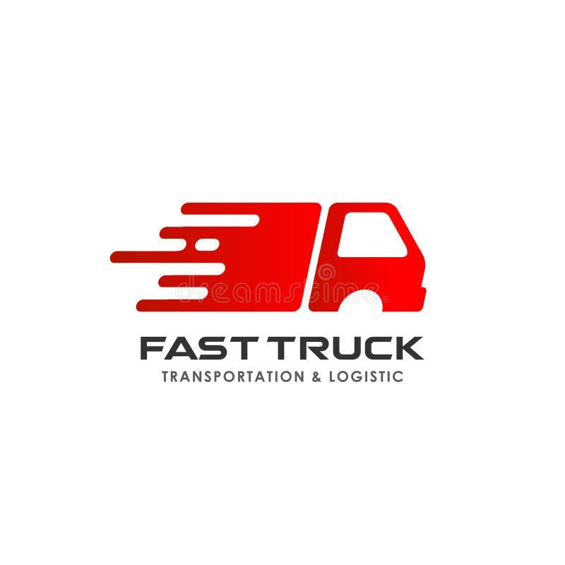 fast truck delivery services logo design. cargo logo design template stock illustration