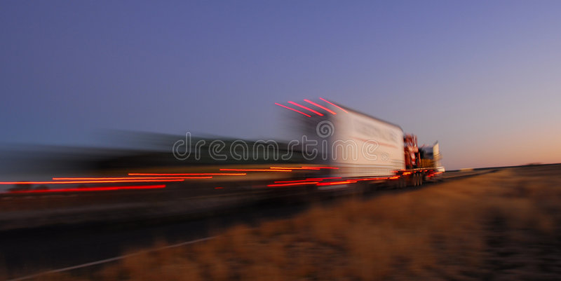 Fast truck in motion stock image