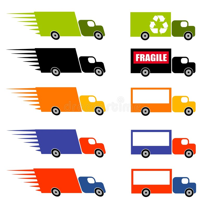 Fast Trucks Clip Art. An illustration featuring an assortment of trucks with a speed theme and another assortment with recycle, fragile, and blank signs vector illustration
