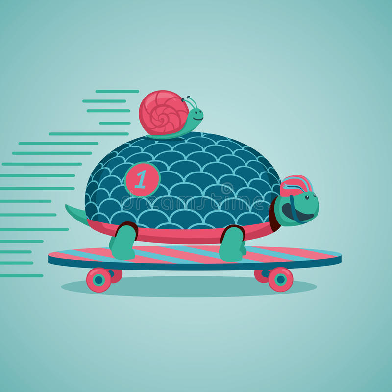 Fast turtle and snail vector illustration
