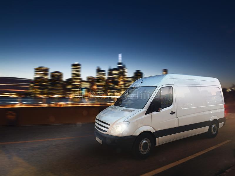 Fast van on a city road delivering at night. 3D Rendering. Moving truck on a city road with skyscrapers background. 3D Rendering vector illustration
