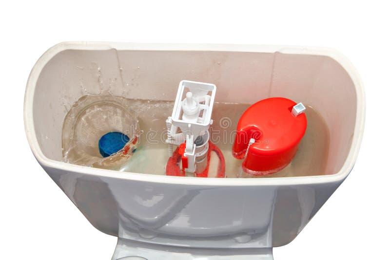Fast vatten-lösligt rengöringsmedel som kastas in i den toile vattencisternen royaltyfri foto